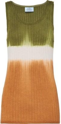 Prada Knitted Colour-Block Tank Top