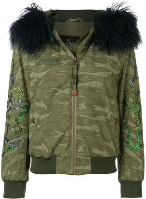 Mr & Mrs Italy Fur Trimmed Hood Bomber Jacket