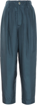 Vince High-Rise Cropped Silk Pants