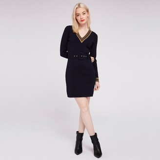 Morgan Two-Tone Short Dress with Glitter Trim and Long Sleeves