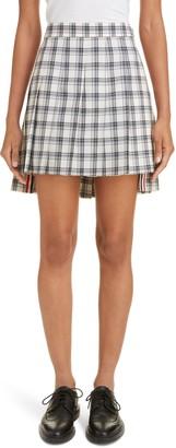 Thom Browne Drop Back Pleated Plaid Wool Miniskirt