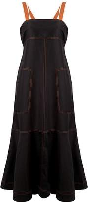 Lee Mathews contrast stitching midi dress
