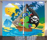 SCOCICI Parrots Decor Collection Image with Pirate Parrot Themed Boat Danger Skull Crossbones Hat Sun Comic Cartoon Print Living Room Bedroom Curtain 2 Panels Set Blue Green