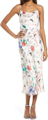 Lulus Must Be Fate Floral Satin Midi Dress