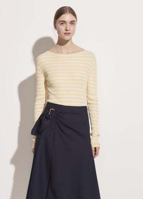 Vince Side Buckle Linen Drape Skirt