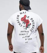 Asos Plus Oversized Sleeveless T-Shirt With Spliced Rose Print