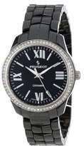 Peugeot Women's PS4901BK Swiss Ceramic Swarovski Crystal Black Dial Watch
