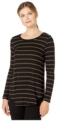 Karen Kane Faux Leather Detail Tee (Stripe) Women's Clothing