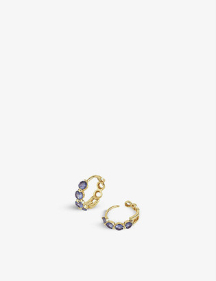 THE ALKEMISTRY Dinny Hall Shuga 14ct yellow-gold and tanzanite huggie hoop earrings