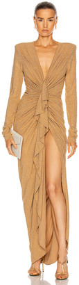 Alexandre Vauthier Studded Gathered Maxi Dress in Beige | FWRD