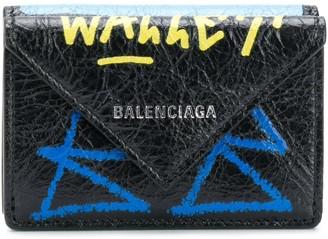 Balenciaga Paper mini scribble wallet