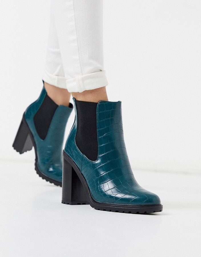 New Look croc pu chunky ankle boot in green