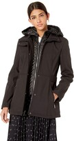 Kenneth Cole New York Womens Mid Length Zip Trench Jacket with Hood and Mixed Quilting