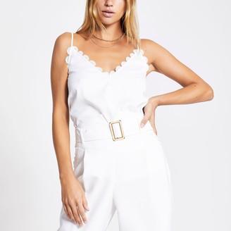 River Island Womens White embroidered scallop cami top