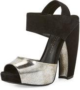 Donna Karan Suede & Leather Slingback Sandal, Hematite/Black