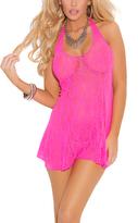 Neon Pink Lace Halter Chemise - Plus