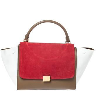 Celine Tricolor Leather and Suede Medium Trapeze Bag