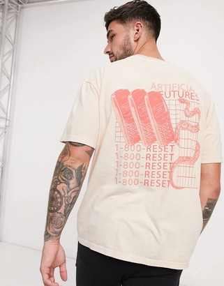 Topman oversized t-shirt with phone snake back print in stone