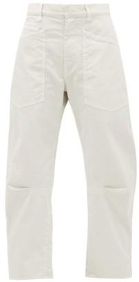 Nili Lotan Shon Cropped Cotton-blend Wide-leg Trousers - Ivory