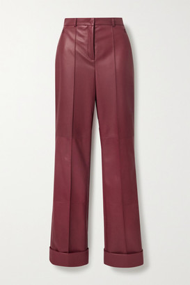Akris Leather Straight-leg Pants - Burgundy