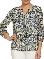Chaus Bohemian Bloom Bouquet Terrain Pintuck Top