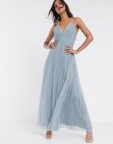 Asos Design DESIGN embellished trim plunge maxi dress