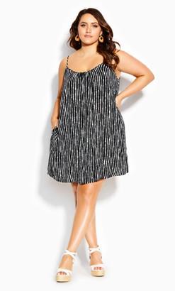 City Chic Stripy Deep Sea Dress - black