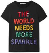 Alice + Olivia Alice Olivia - Rylyn Sequin-embellished Cotton-jersey T-shirt - Black