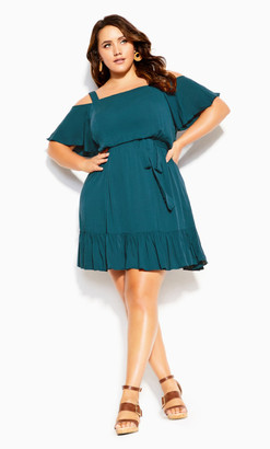 City Chic Paradise Dress - teal
