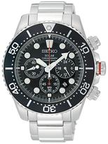Seiko Ssc015p1 Diver Solar Chronograph Bracelet Strap Watch, Silver/black