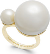 Kate Spade 14k Gold-Plated Double Imitation Pearl Statement Ring