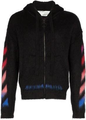 Off-White logo print zipped hoodie