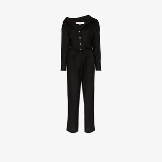 By Any Other Name Off-The-Shoulder Buttoned Jumpsuit