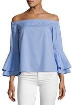 Amanda Uprichard Arabelle Off-the-Shoulder Cotton Top, Blue