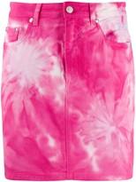 MSGM tie-dye denim mini skirt