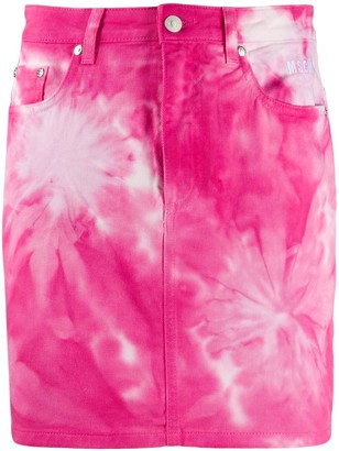 MSGM Tie-Dye Denim Mini Skirt