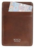 Bosca Men's Leather Money Clip Card Case - Brown