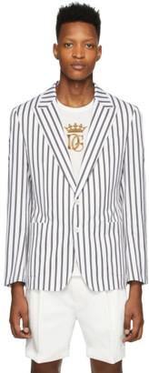 Dolce & Gabbana White Striped Blazer