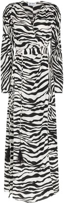 ATTICO Zebra Print Ruched Maxi Dress