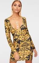 PrettyLittleThing Black Glitter Baroque Print Long Sleeve Plunge Bodycon Dress