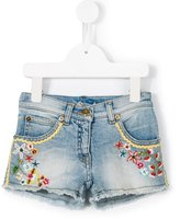 Ermanno Scervino floral embroidery denim shorts - kids - Cotton/Spandex/Elastane - 6 yrs