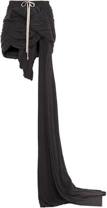 Rick Owens Apollo Draped Metallic Printed Jersey Mini Skirt