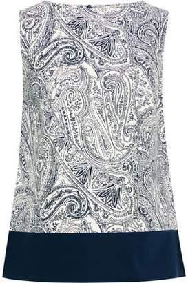 Etro Poplin-paneled Printed Cotton, Silk And Linen-blend Top