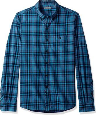 Michael Bastian Men's Long Sleeve Colorblock Plaid Woven Shirt