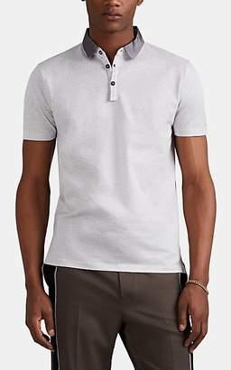 Lanvin Men's Striped Fine-Gauge Cotton Polo Shirt - White