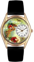 Whimsical Watches Kids' C0810001 Classic Gold Horse Competition Black Leather And Goldtone Watch