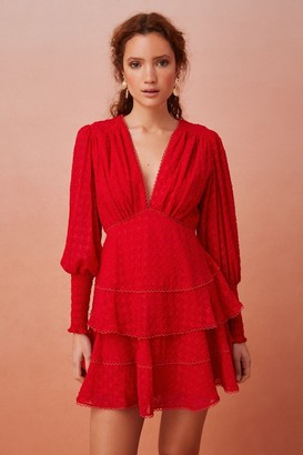 Keepsake BIG LOVE LONG SLEEVE MINI DRESS Scarlet