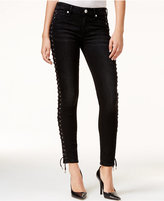 True Religion Halle Lace-Up Super Skinny Jeans, Black Wash