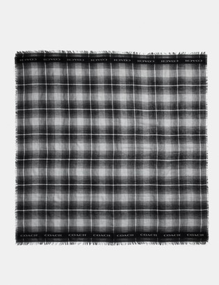 Coach Lightweight Plaid Print Oversized Square Scarf