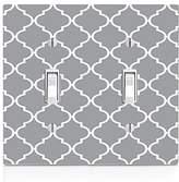 MWCustoms Gray & White Quatrefoil Pattern Art Double Light Switch Plate